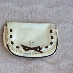 Christian Dior Ivory/Brown  Vintage Cosmetics Bag